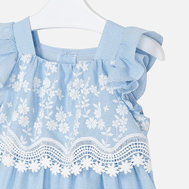 Mayoral Girl SS20 Blue Stripe Embroidered dress 3952 (4353818034274)