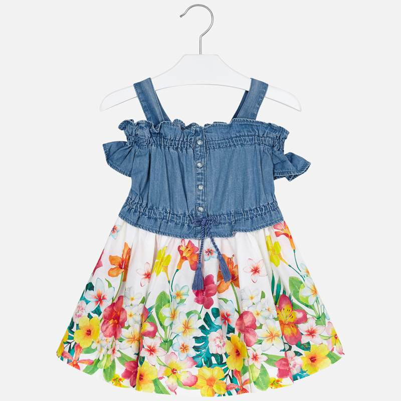 Mayoral Girl SS20 Denim and floral print Dress 3956 (4355206742114)