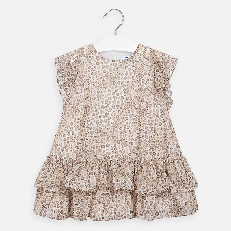 Mayoral Girl SS20 Beige Print Dress 3957 (4355200778338)