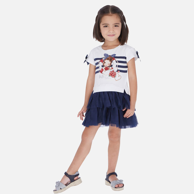 Mayoral Girl SS20 Navy Combined tulle dress 3958 (4353820098658)