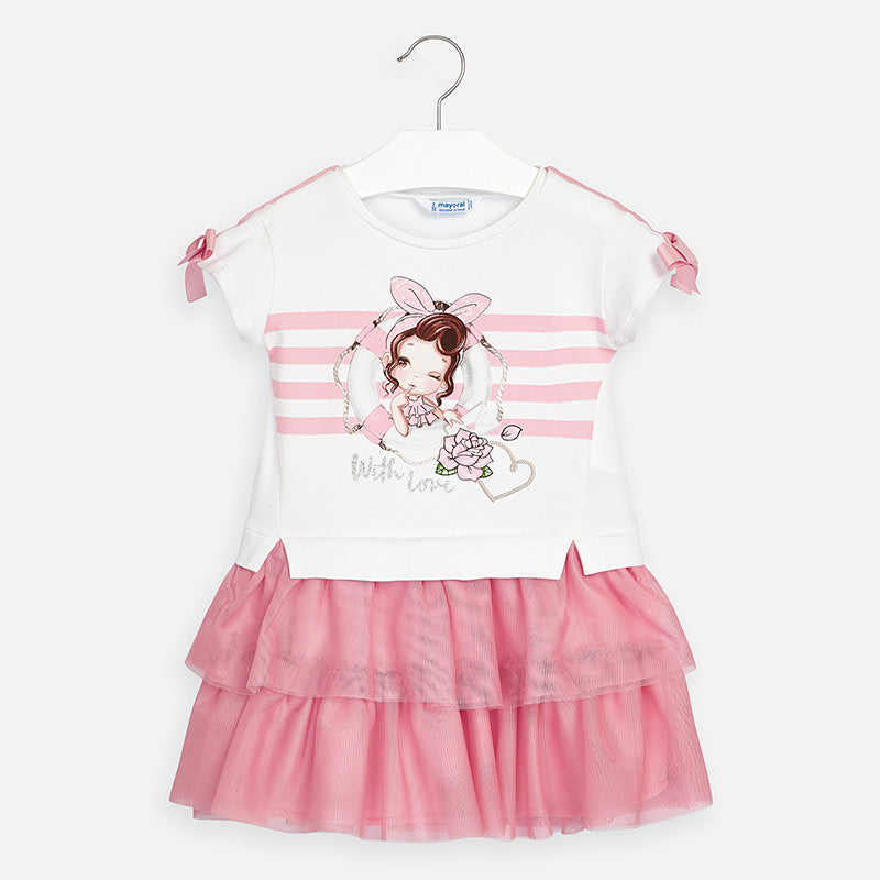 Mayoral Girl SS20 Pink Combined tulle dress 3958 (4353820295266)