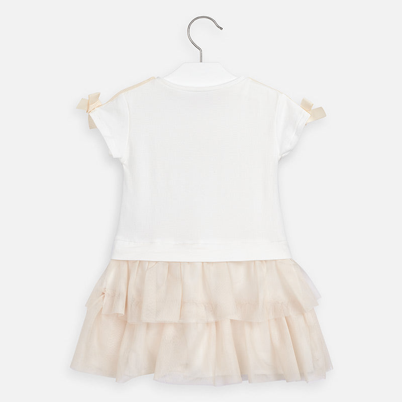 Mayoral Girl SS20 Champagne Combined tulle dress 3958 (4353820393570)