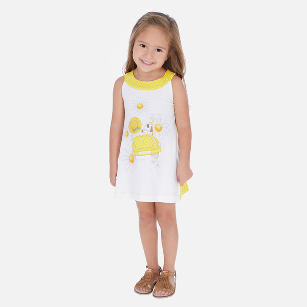 Mayoral Girl SS20 White and Yellow Daisy dress 3960 (4353819279458)
