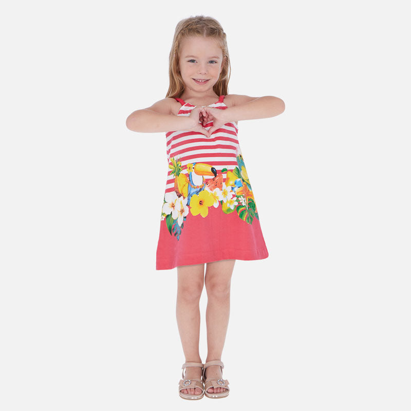 Mayoral Girl SS20 Pink Striped Tucan dress 3961 (4355207102562)