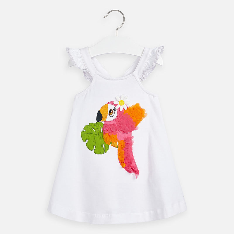 Mayoral Girl SS20 Embroidered Tucan Dress White 3962 (4360550613090)