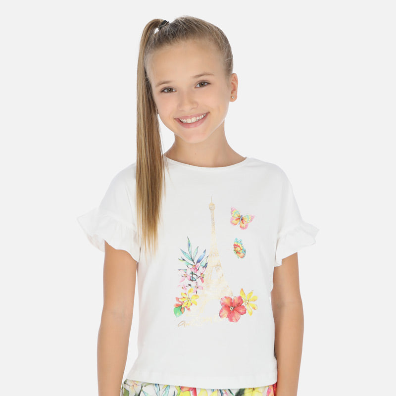 Mayoral Girl SS20 Short sleeved Eiffel Tower t-shirt 6013 (4370629951586)