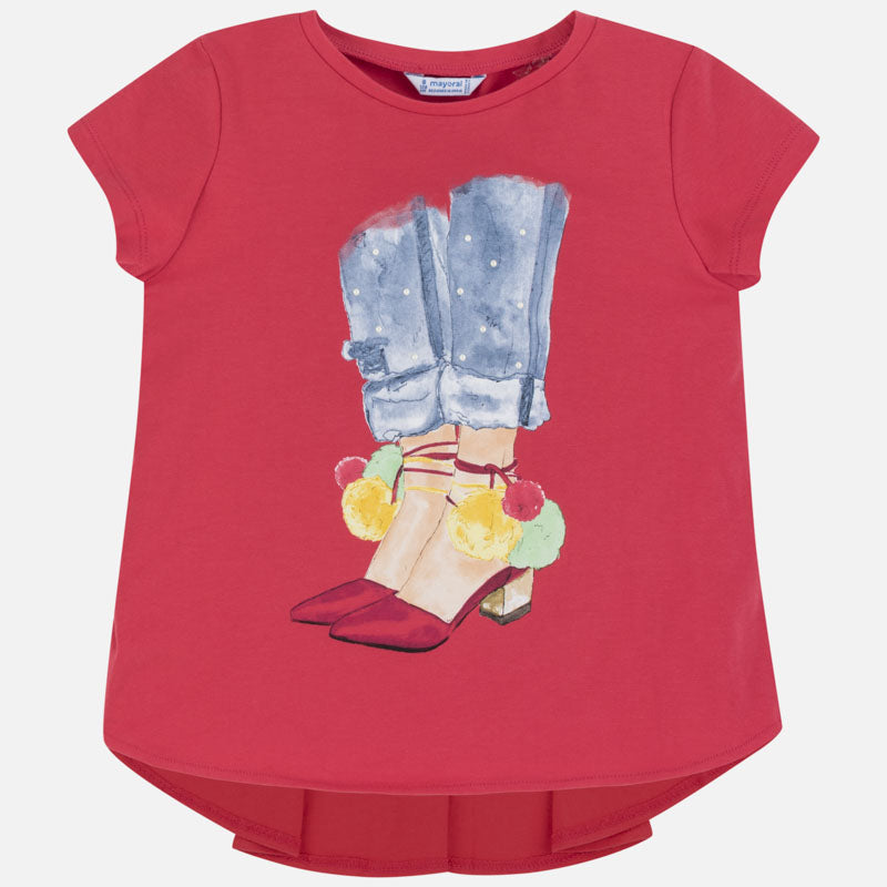Mayoral Girl SS20 Short sleeved t-shirt with shoes print 6021 (4370631295074)