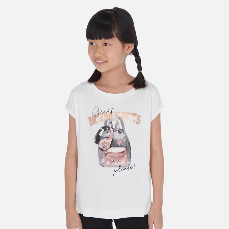 Mayoral Girl SS20 Short sleeved t-shirt with backpack print  6023 (4370636177506)