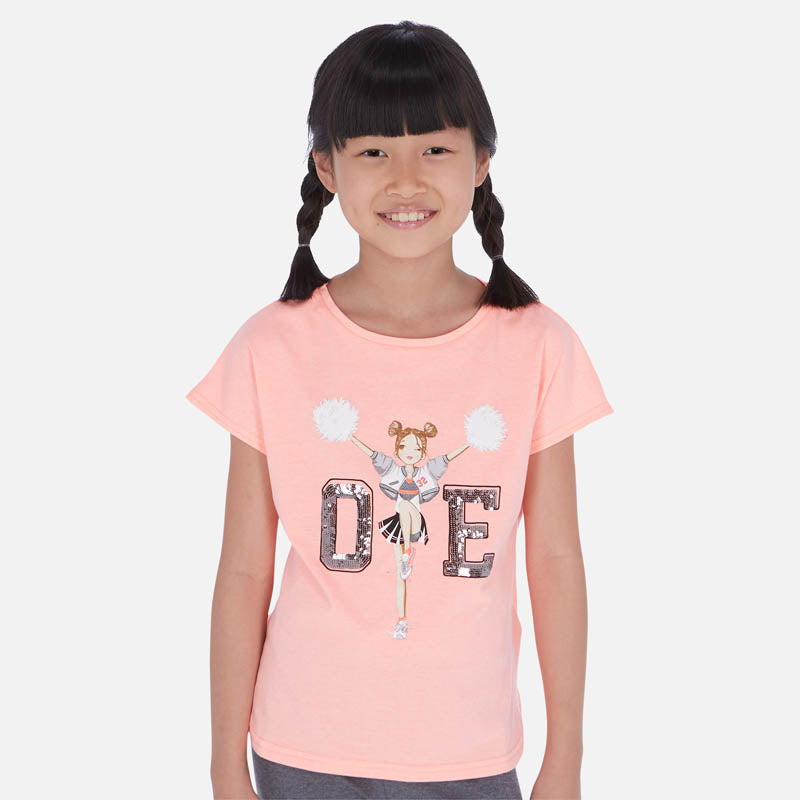 Mayoral Girl SS20 Short sleeved t-shirt with cheerleader print 6025 (4370640863330)