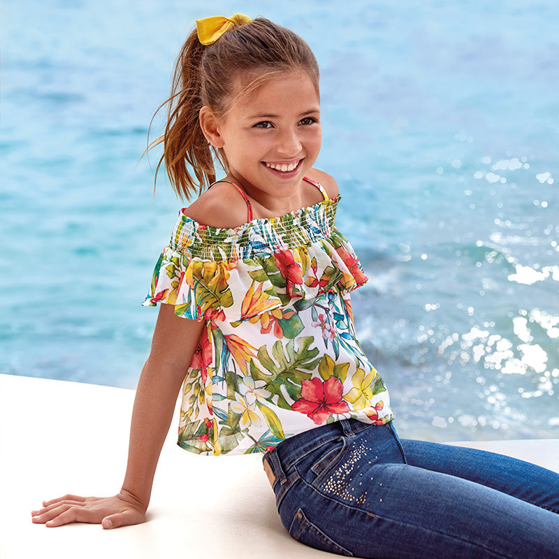 Mayoral Girl SS20 Floral Ruffled blouse 6164 (4370630279266)