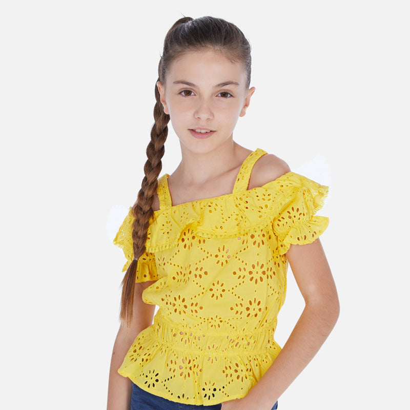 Mayoral Girl SS20 Sleeveless blouse with openwork detail 6169 (4370530107490)
