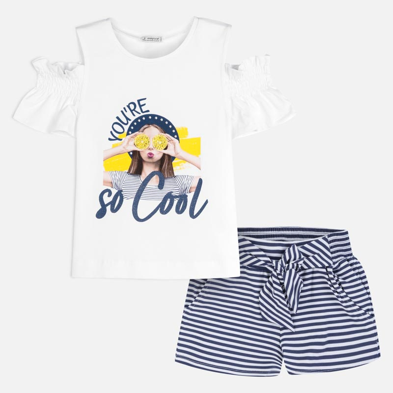 Mayoral Girl SS20 So Cool T-shirt and striped shorts set 6259 (4370527780962)