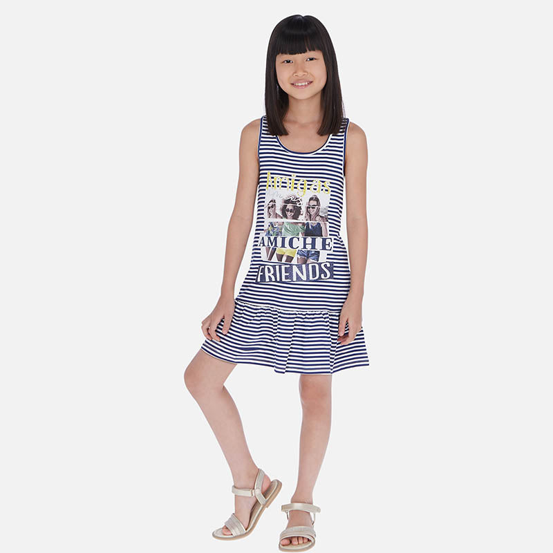 Mayoral Girl SS20 Blue Striped dress 6987 (4370525880418)