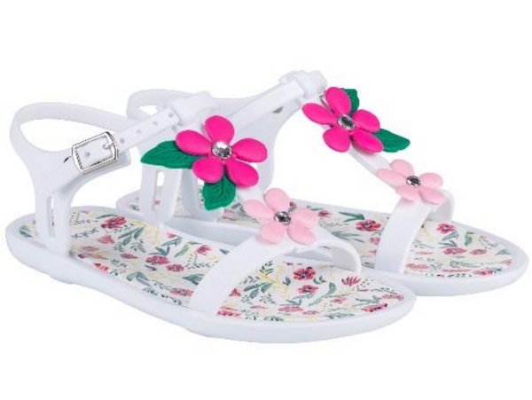 Igor Tricia Floral Jelly Shoes White 001 - Bumkins Designer Kids