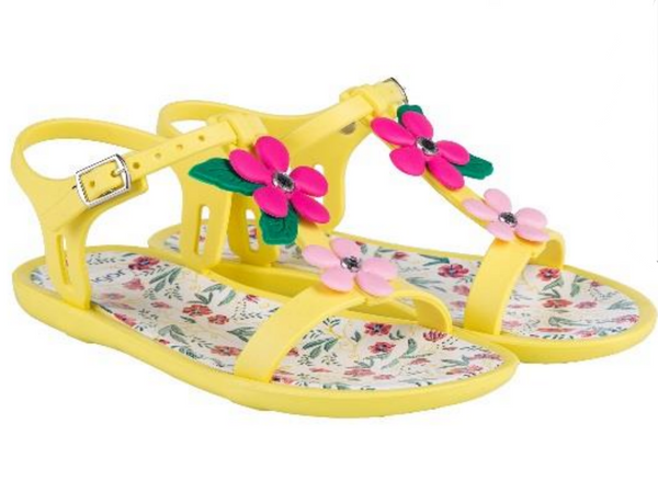 Igor Tricia Floral Jelly Shoes Yellow 008 - Bumkins Designer Kids