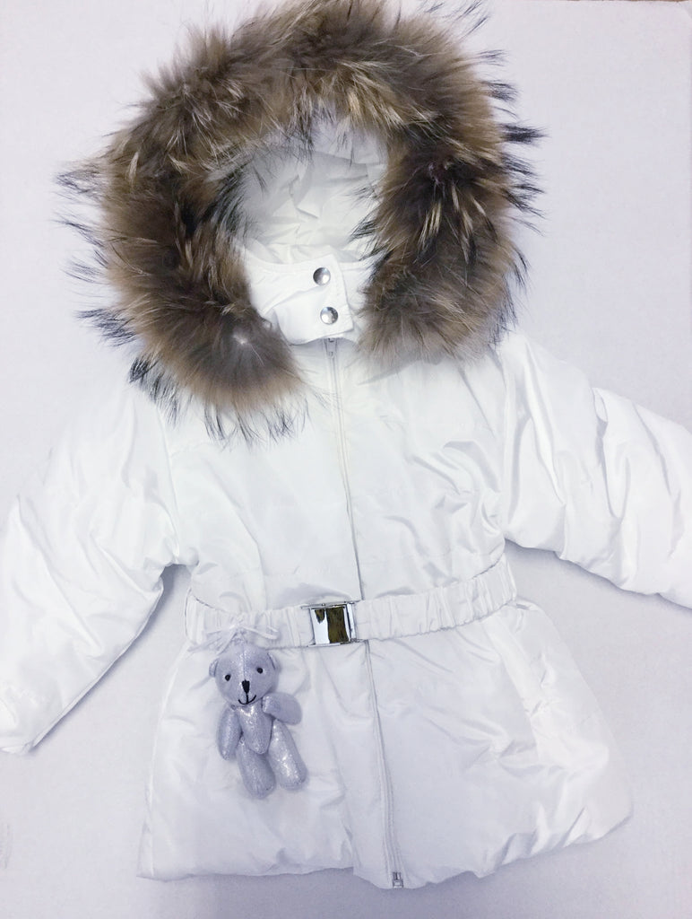 Little Lady 'I Choose Joy' Bear Coat with fur trim hood ICH01 (1460424900706)