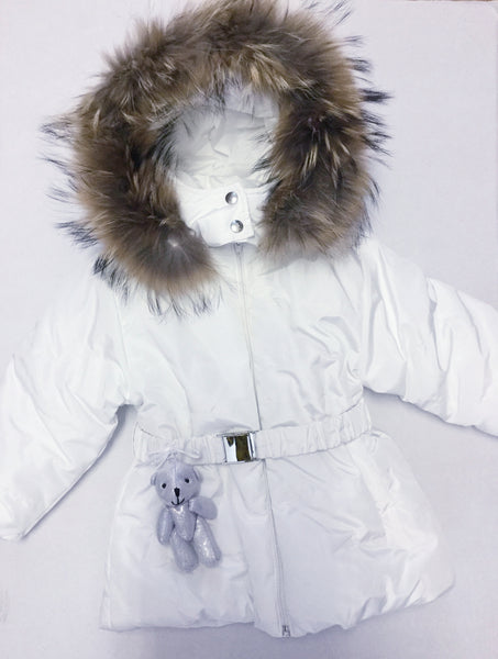 Little Lady 'I Choose Joy' Bear Coat with fur trim hood ICH01
