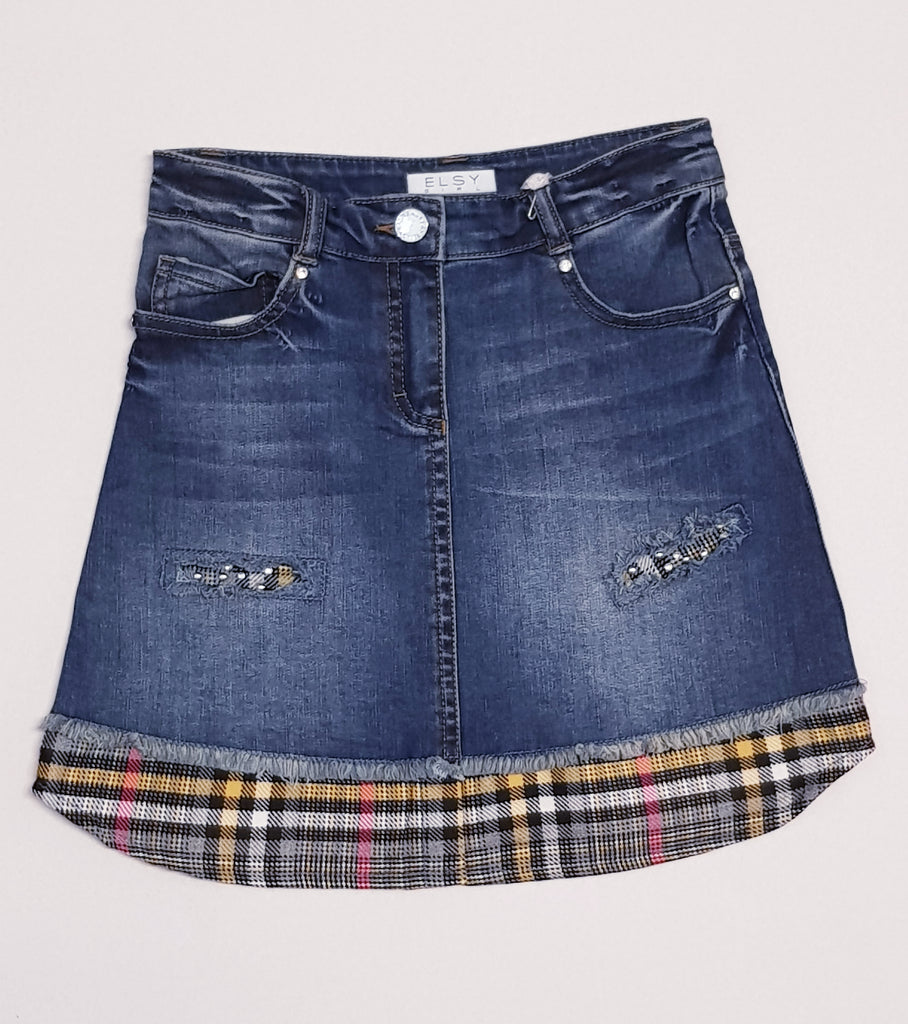 Elsy Denim check trim skirt 5211 (1598183243874)