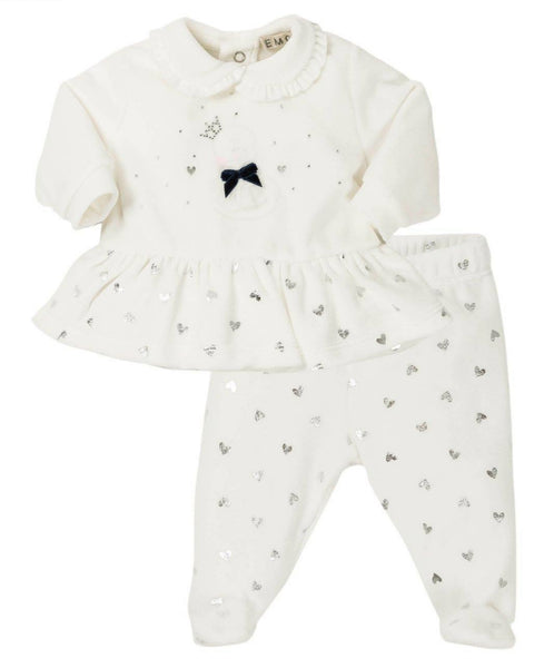 EMC AW19 Girls White Heart and Swan Two Piece Set 2558 (4166527746146)