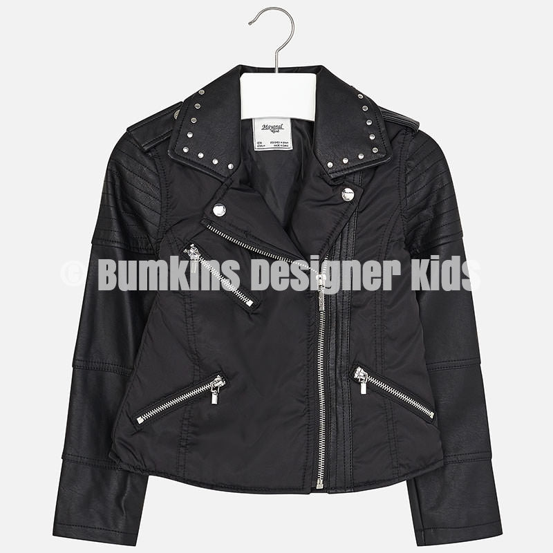Mayoral Girl leatherette jacket with zippers 6447 - Bumkins Designer Kids (8432465297)