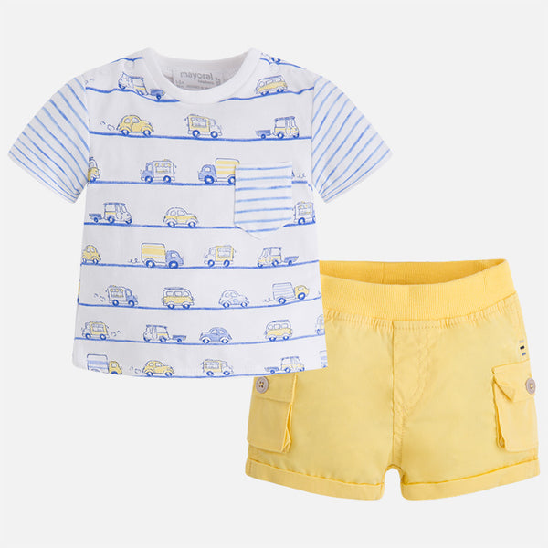 Mayoral Baby Boy Yellow shorts set with Cars T-shirt 1238