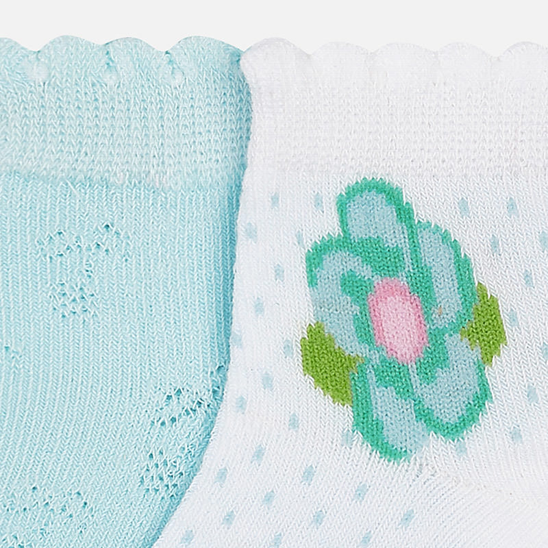 Mayoral Baby Girl 2 pairs of Aqua floral socks 10348 (763945123938)