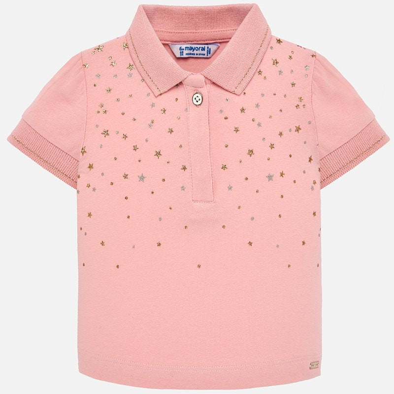 Mayoral Baby Girl Short sleeved star polo shirt Pink 1108 (2190202011746)