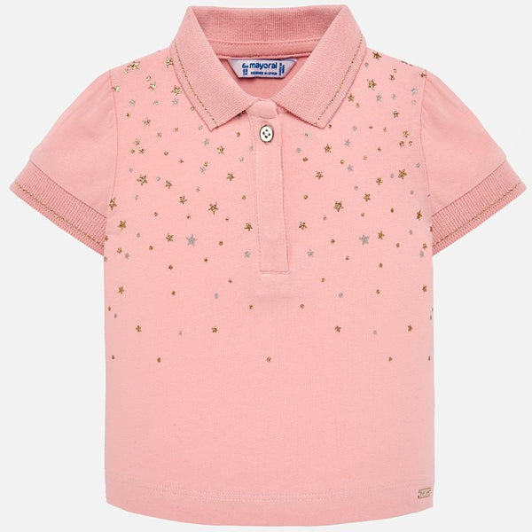cc8ee5b0d Mayoral Baby Girl Short sleeved star polo shirt Pink 1108
