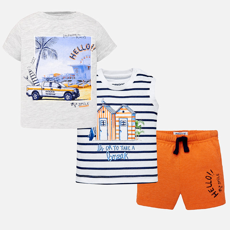 Mayoral Baby Boys Surf print t-shirts and shorts set 1646 (2218504487010)