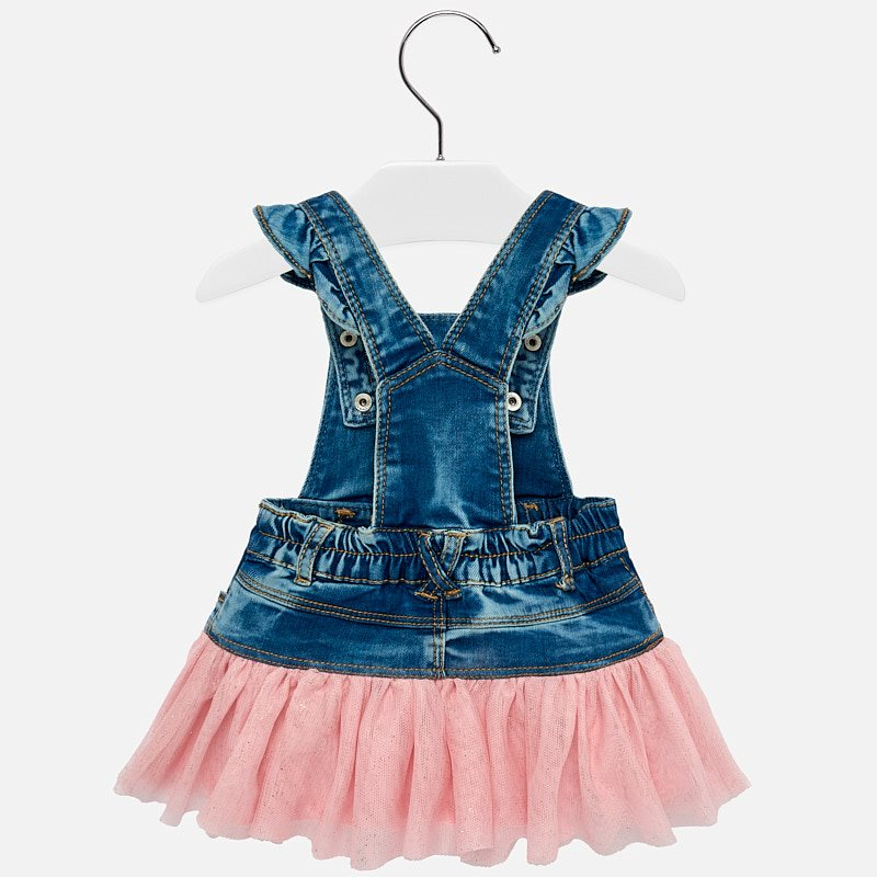 Mayoral Baby Girl Denim Tulle Dress Pink 1902 (2190204305506)