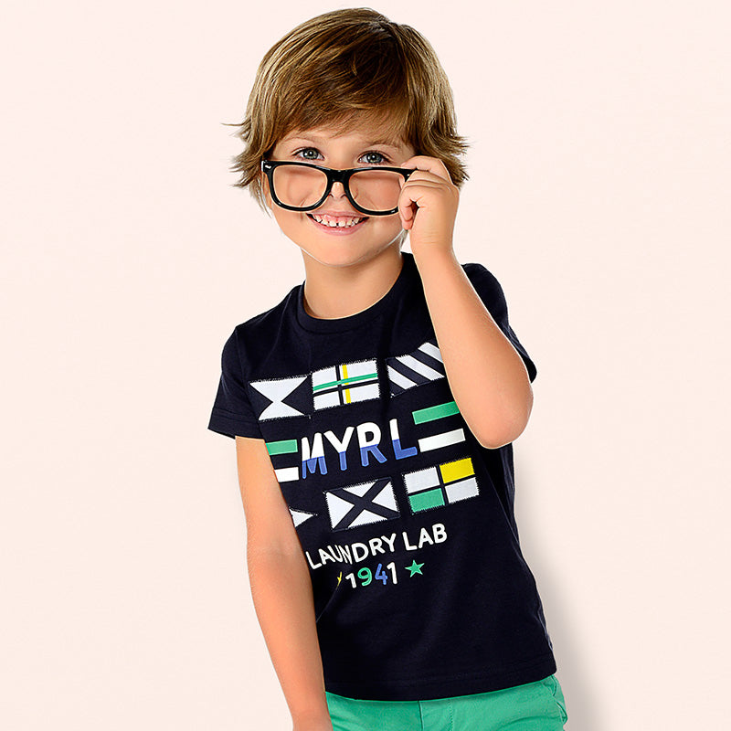Mayoral Boy SS19 Short sleeved Laundry Lab T-Shirt Navy 3031 (2132048380002)
