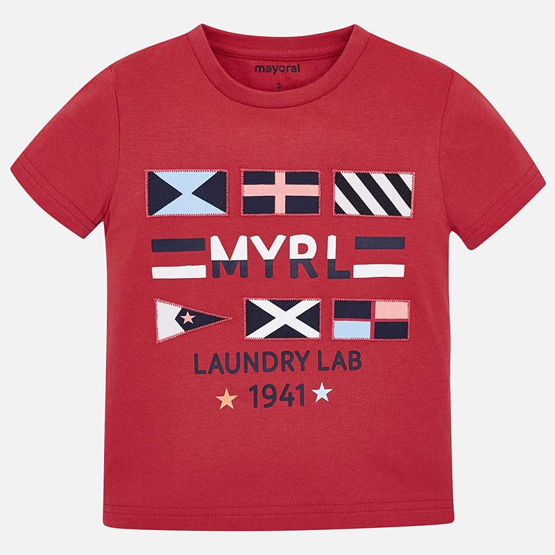 Mayoral Boy SS19 Short sleeved Laundry Lab T-Shirt Red 3031 (2131943555170)