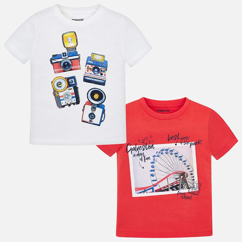 Mayoral Boy SS19 Set of Two short sleeved T-shirts red 3044 (2131951747170)
