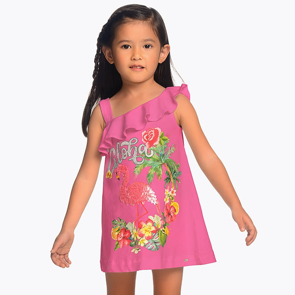 Mayoral Girl Flamingo Sequin Dress Pink 3953