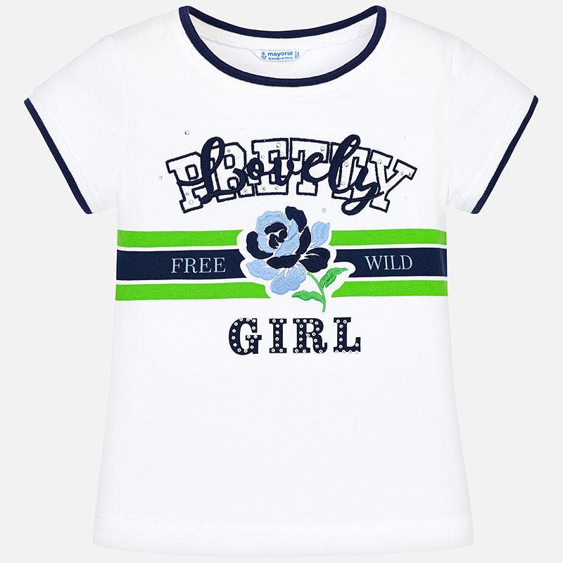 Mayoral Girl Blue & Mint Rosette T-shirt 6014 (2048989495394)