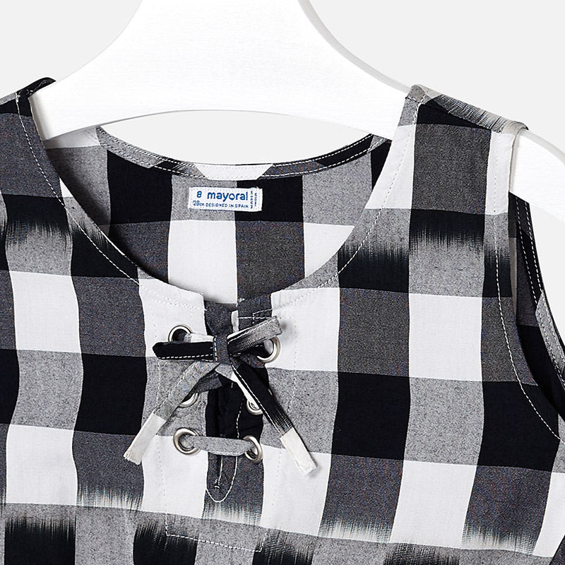 Mayoral Girl Black and White Cropped Blouse 6110 (2047216255074)