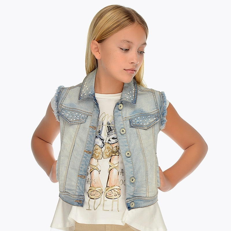 Mayoral Girl Embellished Denim Vest 6304 (2049073184866)
