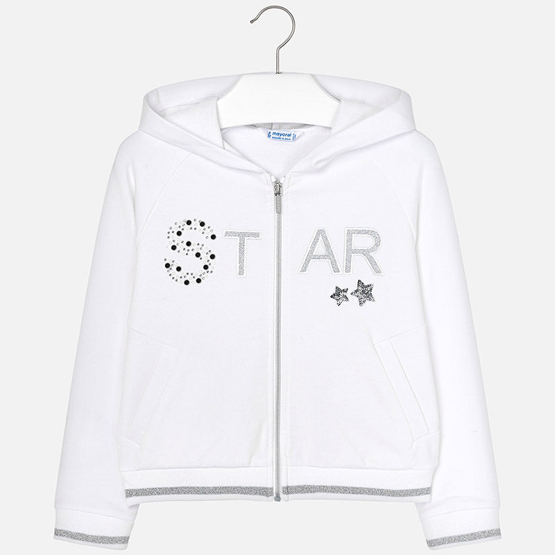Mayoral Girl White Star Hooded jacket 6412 (2047225856098)