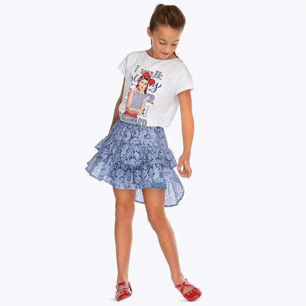 Mayoral Girl Blue Lace Skirt 6904