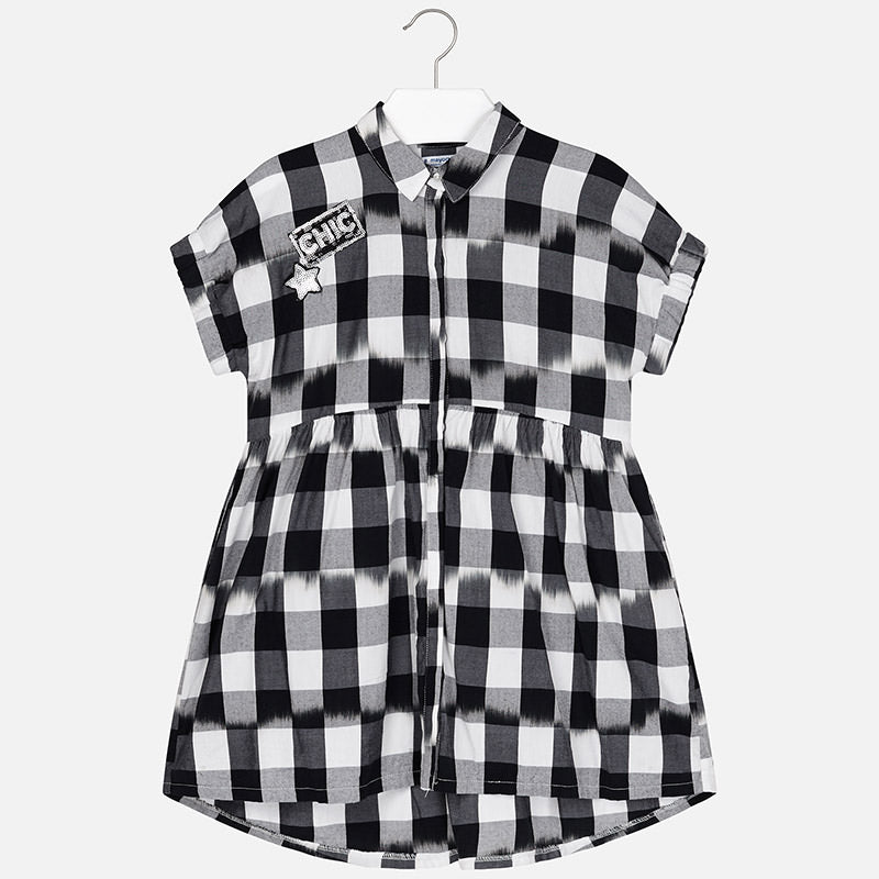 Mayoral Girl Black and White Plaid Dress 6938 (2047206588514)