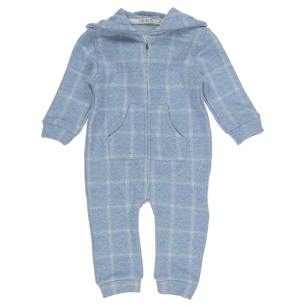EMC Boys Blue Check Hooded footless All in one 6229 (1421937049698)