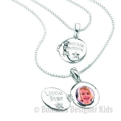 D for Diamond Sterling Silver 'Twinkle little star' Locket & Chain - Bumkins Designer Kids (7919566920)