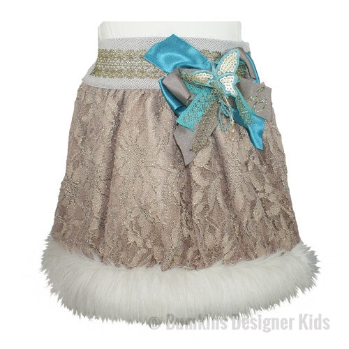 Little Darlings Victoriana Rose Faux Fur Trim Skirt 1176 - Bumkins Designer Kids (8294384209)