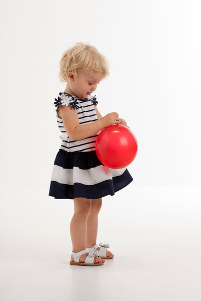 Kate Mack Daisy Crew Navy and White Dress 506 - Bumkins Designer Kids