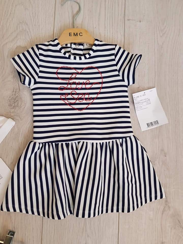EMC SS20 Navy Stripe Heart Dress (4348929966178)