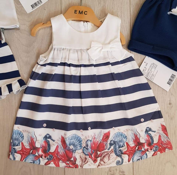 EMC SS20 White And Navy Stripe Under The Sea Dress (4348929736802)