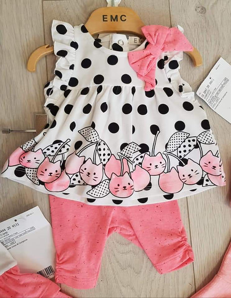 EMC SS20 Pink and Black Polka Dot Tunic set 2643