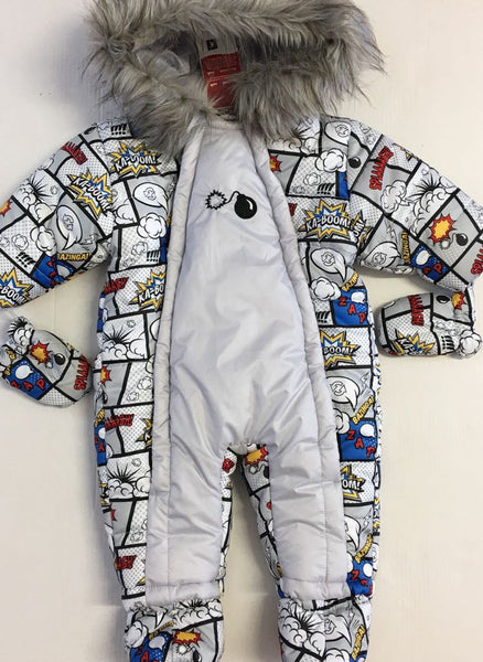 Wojcik Pop Art Pramsuit with Artificial Fur Trim Hood - Bumkins Designer Kids (77495009307)