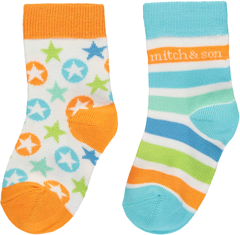 Mitch and Son SS20 Julian Striped & Stars Socks 2PK 1335 (4342219571298)
