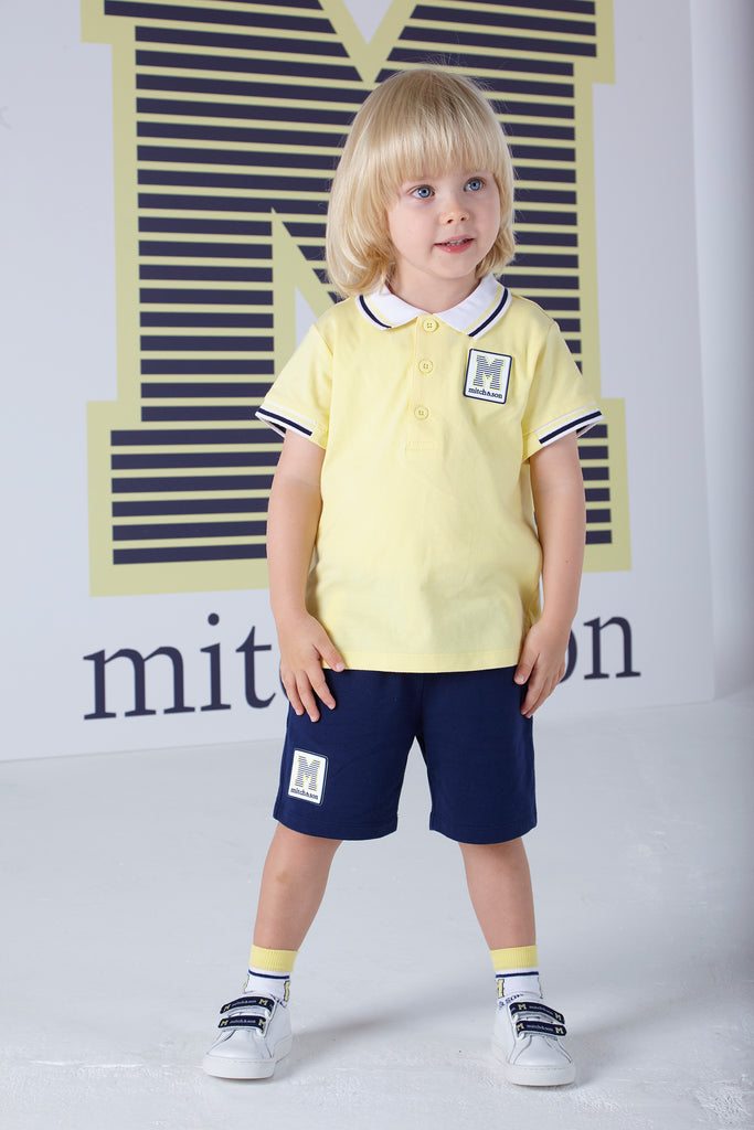 Mitch and Son SS20 John Rib sleeved Polo Top Lemon 1326 (4342217736290)